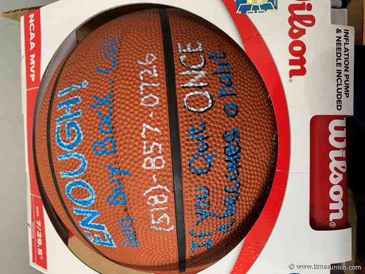 Victory Church gives anti-violence basketballs adorned with superstar wisdom to Albany courts