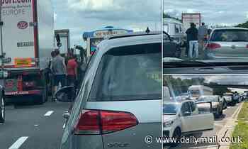 Ice cream van on the M25 is mobbed after motorbike crash brings motorway to a standstill
