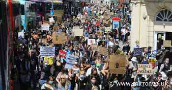 Thousands of Black Lives Matter protesters march through streets of Brighton