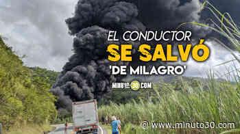 EN FOTOS: ¡Qué impresión! Se volcó un camión cisterna y se prendió en la vía a Cisneros - Minuto30.com