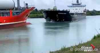 2 ships collide head-on in Ontario's Welland Canal, video shows