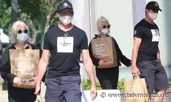 Australian actor Hugh Jackman and wife Deborra-Lee Furness wear masks in New York on grocery run