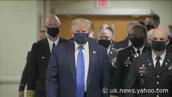 Donald Trump wears mask in public for first time