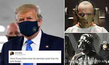 Hannibal Lecter or Darth Vader? Trump's public mask debut sets social media on fire - Daily Mail