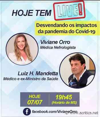 Pré-candidata à prefeitura de Aquidauana realiza live com Mandetta - Portal do Jornal A Crítica de Campo Grande/MS