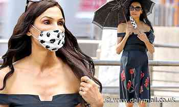 Famke Janssen is radiant in rose-adorned black skirt as she steps out in NYC with a mask and parasol - Daily Mail