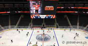 Edmonton Oilers honour Colby Cave prior to first practice returning to play