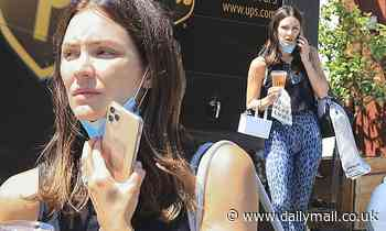 Katharine McPhee rocks patterned leggings with a sleeveless top for errands run in LA
