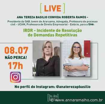 Presidente da OAB Jovem de Araruama, Roberta Ramos, participa de live - Anna Ramalho