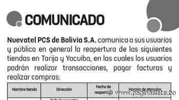 Reapertura Tiendas en Tarija y Yacuiba, Viva - Diario Pagina Siete