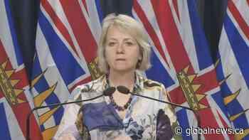 Dr. Bonnie Henry details COVID-19 outbreak exposure impacting 17 people in Kelowna