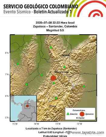 Temblor de 5,5 de magnitud se registró en Zapatoca (Santander) - La Patria.com