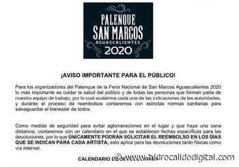Ya hay calendario para el reembolso de boletos del Palenque - Hidrocalido