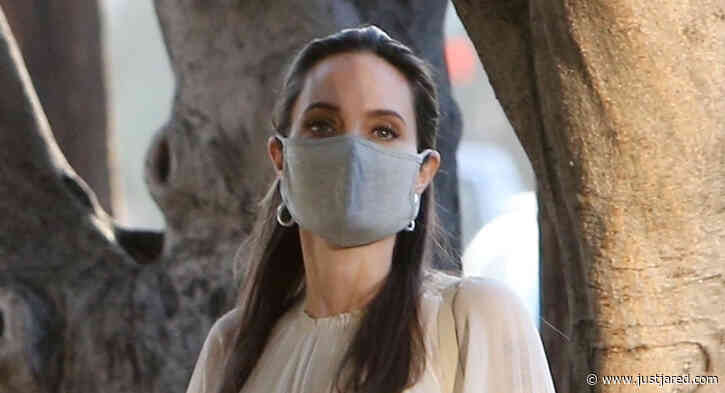 Angelina Jolie Wears Her Face Mask While Out to Lunch