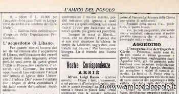 10 luglio 1920, l'inaugurazione dell'ospedale di Agordo e una gita del Cai - L'Amico del Popolo