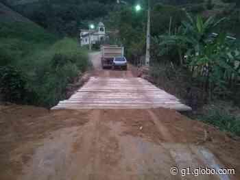 Ponte que cedeu com caminhão da Prefeitura em Sumidouro, RJ, é reconstruída um dia após acidente - G1