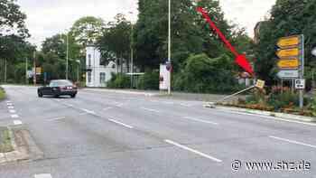 Unfallflucht: Autofahrer prallt gegen Schild auf Verkehrsinsel am Thormannplatz in Rendsburg   shz.de - shz.de