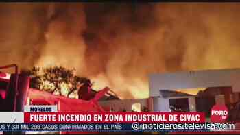 Fuerte incendio consume fábrica de cosméticos en Jiutepec, Morelos - Noticieros Televisa