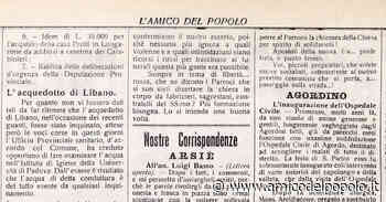 In provincia 10 luglio 1920, l'inaugurazione dell'ospedale di Agordo e una gita del Cai - L'Amico del Popolo