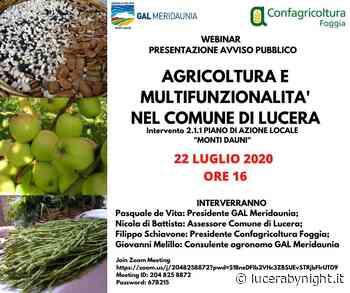 GAL Meridaunia: Webinar su Bando Multifunzionalità e Agricoltura nel Comune di Lucera - lucerabynight.it