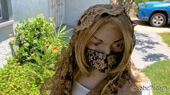 Inglewood woman imports Spanish lace to make veils and masks - KABC-TV