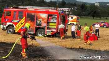 Feuer zwischen Metzingen und Reicheneck: Flächenbrand auf Feld - Große Rauchsäule - SWP