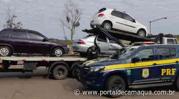 PRF recupera um carro roubado, na BR 158 em Santana do Livramento, e outro com busca e apreensão sendo levados para o Uruguai - Portal de Camaquã