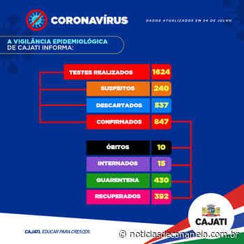 Vigilância Epidemiológica de Cajati apresenta o boletim do novo coronavírus desta sexta-feira, 24 de julho: - Noticia de Cananéia