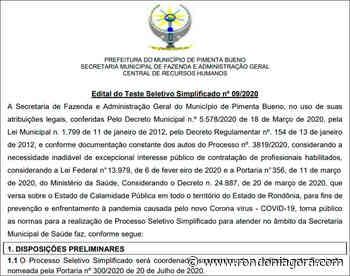 Pimenta Bueno abre seleção e oferece 22 cargos - Concursos e Empregos - Jornal Rondoniagora