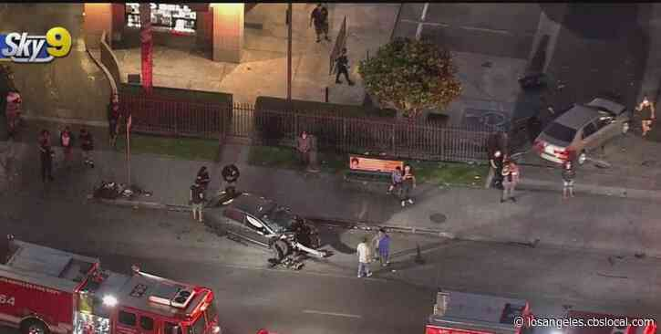 6 Injured, 1 Critically, In Rollover Crash Outside South LA Taco Bell