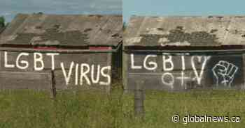 Graffiti targets Airdrie LGBTQ community for 3rd time in 2 months - Globalnews.ca