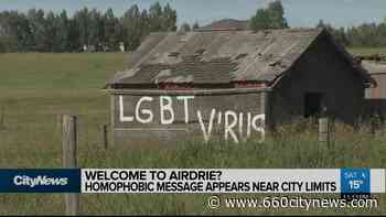 Homophobic message appears near Airdrie city limits - 660 News