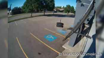 WATCH: Video shows semi wheel slamming into Prince Albert business