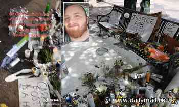 Memorial for armed BLM protester shot dead in Austin is vandalized and doused with white paint