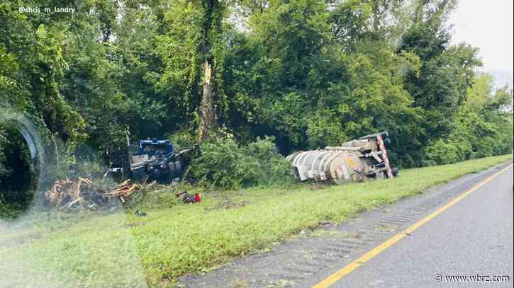 I-10 West reopened after flipped tanker causes hours-long closure