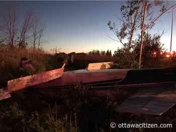 Two men treated for minor injuries after plane crashes near Highway 417