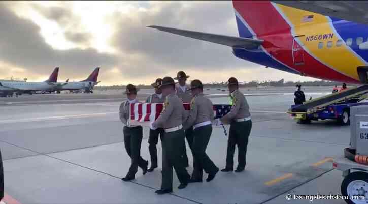 Flag-Draped Casket Of LASD Deputy Killed In Oregon Crash Arrives In LA