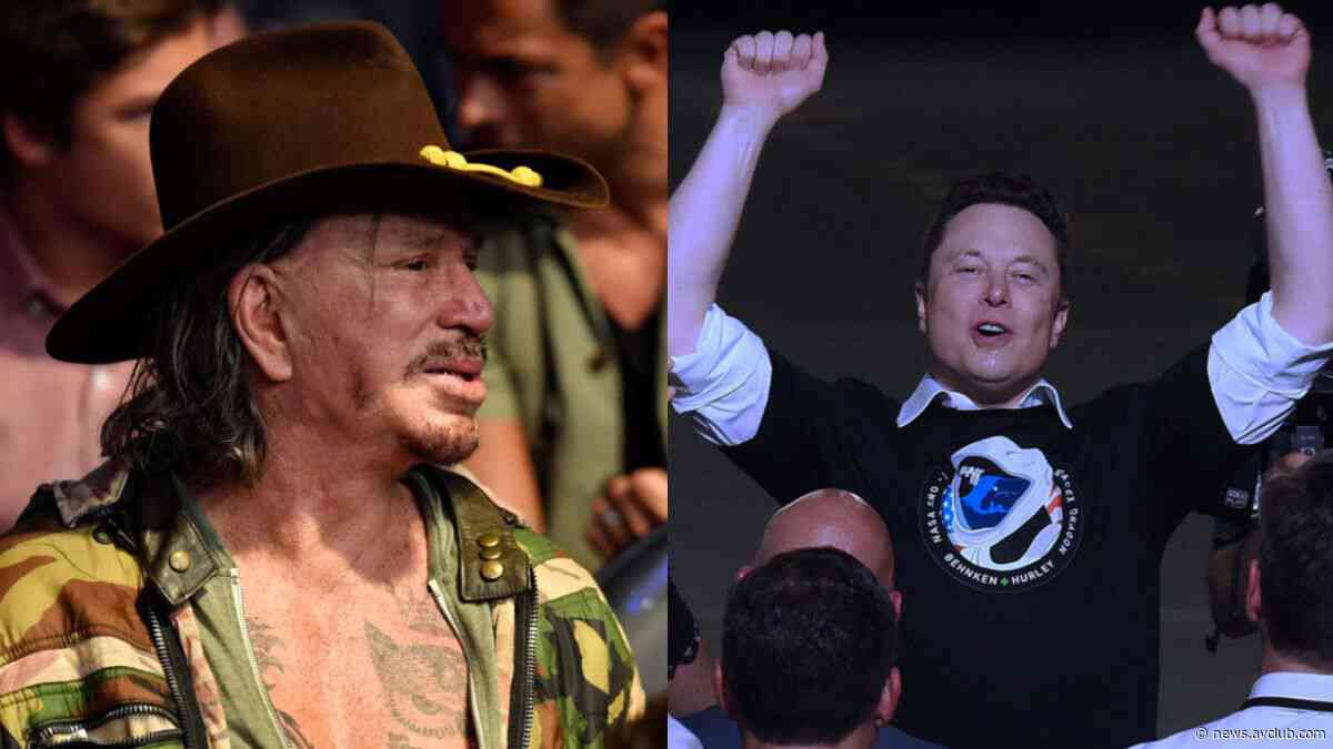"""Mickey Rourke offers to fight """"Mr. Tough Guy"""" Elon Musk in a bare-knuckle boxing match - The A.V. Club"""