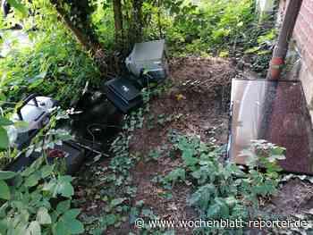 Elektroschrott in der Grünanlage am Pfarrheim Herz Jesu - Wochenblatt-Reporter