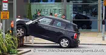 Mini Cooper left airborne after getting stuck on ramp at Media City