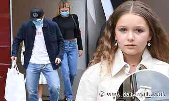 PIC EXC: Brooklyn Beckham and fiancee Nicola Peltz take stylish sister Harper for a shopping spree