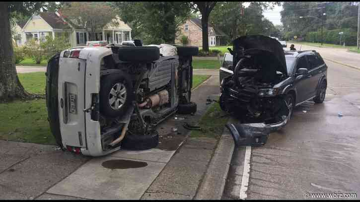 Overturned vehicle catches fire after crash on Jefferson Hwy; 4 taken to hospital