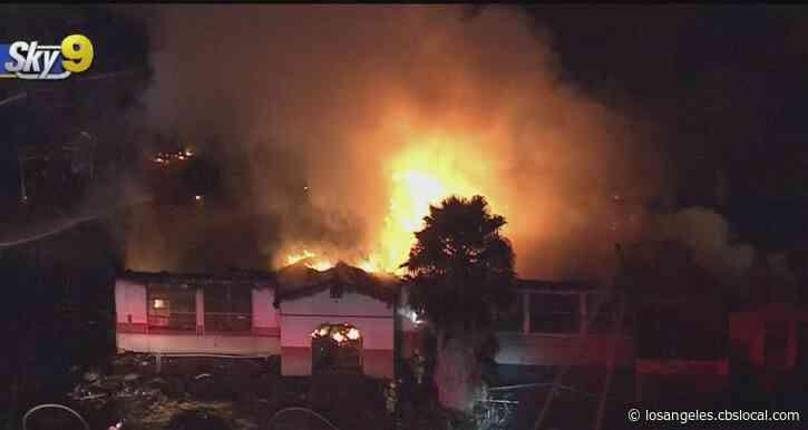 Fire Crews Battle Blaze At Abandoned School In San Bernardino