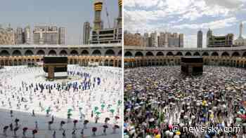 Coronavirus: Dramatic pictures show scaled-down Hajj pilgrimage due to COVID-19 - Sky News