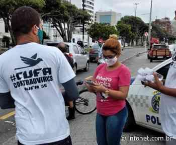 Cptran e Cufa distribuem álcool em gel no centro de Aracaju - Infonet