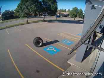 Watch: Tire flies off truck in P.A., strikes storefront