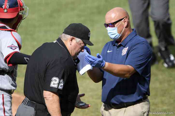 Umpire Joe West misses 2 innings after getting hit by bat