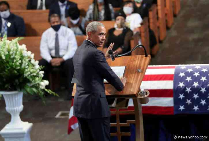 Obama aims criticism at Trump in eulogy for civil rights leader
