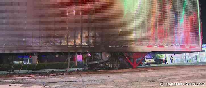 No Serious Injuries After Car Gets Wedged Under Semi-Truck In Lennox, Catches Fire