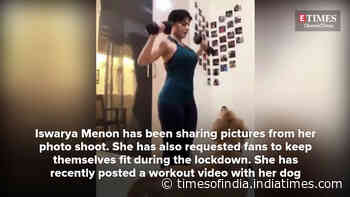 Iswarya Menon posts a video working out with her pet